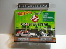 Hot Wheels Ghostbusters Ecto-1 & Ecto 2 Set w/Real Riders