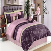 Luxury 7pc Purple & Lavender Comforter Set w/Decorative Pillows AND Shams - KING