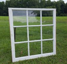 VINTAGE SASH ANTIQUE WOOD WINDOW PICTURE FRAME PINTEREST 9 PANE WAVY GLASS 33X32