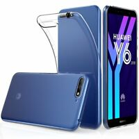 For Huawei Y6 (2018) Case Clear Slim Gel Cover & Glass Screen Protector