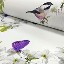 ARTHOUSE MITZU FLORAL BIRD BUTTERFLY FLOWER MOTIF GLITTER WALLPAPER WHITE
