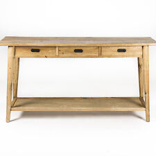 NEW - Danish Style Oak Natural Lacquered Timber 3-Drawer Console / Hall Table
