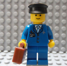 LEGO Airline Pilot Blue Suit with Black Hat with Briefcase Suitcase Classic Head