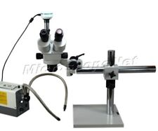 Boom Stand Trinocular Zoom Stereo Microscope 3.5X-90X+Dual Fiber Light 2Mp Cam