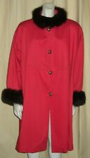 Yves Saint Laurent YSL Fourrures Vtg Red Twill Swing Coat Fox Fur Trim XL NOS