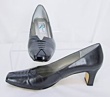 """Ros Hommerson sz 8.5 N Black Leather 2.25"""" Heel Pointed Toe Pumps w/ Lace up Toe"""