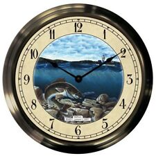 "Trintec 14"" Walleye Antique Brass Fishing Clock AB14-08-WE Great Gift!"