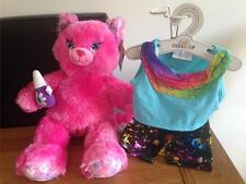 Build A Bear Factory RARA e difficile da trovare Ombretto Bellezza KITTY PLUS RAINBOW Vestito Bnwt