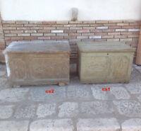 Antica cassa panca cassapanca dispensa baule in legno massello intagliato 1800