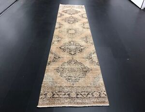Tan Color Turkish Handmade Runner Rug, Handmade Runner Rug, Oushak Runner, C218