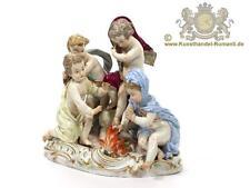 Große Meissen Figur Figurengruppe 4 Putten am Feuer