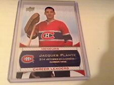 08-09 2008-09 UPPER DECK CENTENNIAL MONTREAL JACQUES PLANTE CAREER LEADERS 241