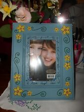 """NEW Live~Laugh~Love~ Blue with Yellow Daisies & Black Scroll Lines Frame~ 4 x 6"""""""