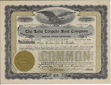 Connecticut 1915 The Lake Torpedo Boat Company Stock Certificate Simon Lake