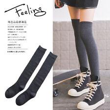 Cute Japanese Long Legging High Knee Socks Black And Gray [2 Pairs]