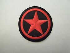 Vintage Red Star Black Background Novelty Fashion Punk Embroidered Iron On Patch