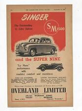 Singer SM 1500 Super Nine Original Advertisement removed from a 1950 Magazine