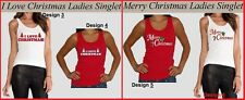 MERRY CHRISTMAS or I LOVE CHRISTMAS Womens SINGLET TOP Red or White szs S M L XL