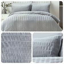 Serene SEERSUCKER Grey- Easy Care Duvet Cover / Bedding Set