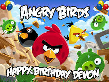 ANGRY BIRDS Edible Birthday CAKE Decorating Image Icing Topper FREE SHIPPING