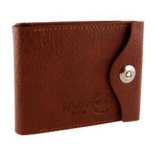 Portefeuille Homme en Cuir Porte Cartes Visite Photo Billet Monnaie SIM Marron
