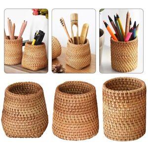 Handmade Rattan Desk Storage Organisers Kitchen For Utensils Pencil holders
