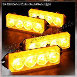 16 LED Amber & Yellow Emergency Hazard Warning Grille Flash Strobe Light Bar