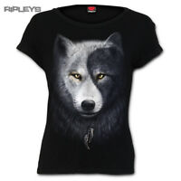 SPIRAL DIRECT Ladies Black Goth WOLF CHI Yin Yang T Shirt Top All Sizes