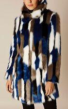Karen Millen Atelier in pelliccia sintetica Patchwork Cappotto/Giacca Taglia 14