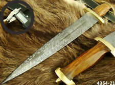 "ALISTAR 15.4"" HANDMADE DAMASCUS STEEL SWISS DAGGER HUNTING KNIFE 4354-21h"