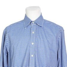 Robert Talbott Blue White Stripe Point Collar Dress Shirt Mens 15.5 - 33