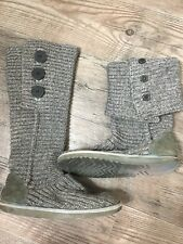 Ugg Australia Classic Cardy Boots Womens 6 Gray Knit Fold Over Tall Winter