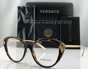 Versace Cateye Eyeglasses VE3262B 5267 Tortoise Brown Frame Clear Demo Lens NEW