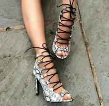Snake Print Women High Heels Gladiator Peep Toe Sandals Ankle Boots Party Shoes