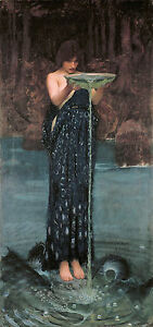 """Handmade Oil Painting repro John William Waterhouse Circe Invidiosa 24""""x36"""""""