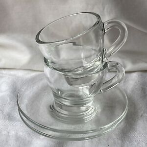 Espresso Clear Glass Cup And Saucer Italy Set Of 2