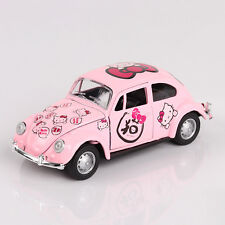1:32 Hello Kitty Pattern VW Beetle Alloy Diecast Car Model Toy Vehicle Pink Gift