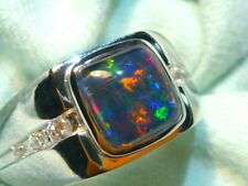 Mens Opal Ring Sterling Silver, Natural Opal Triplet. 8mm Square . item 110783