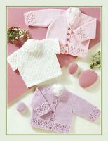 """Baby's Cardigans and Sweater Knitting Pattern in 4ply 12-24"""" prem sizes 195"""
