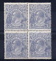 Australia 1928 3d Sideface block of 4 MNH