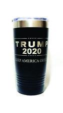 "BLACK Tumbler 20 OZ -""TRUMP 2020 Keep America Great"" Engraved + CUSTOM Text"