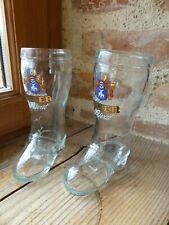 2 VERRE  BOTTE BIÈRE DORTMUNDER THIER PRIVAT Beer Glass bierglas laars bot 25cl