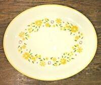 "FRANCISCAN USA DAISY WREATH VTG 70's 14"" OVAL SERVING PLATTER Yellow Daisies EUC"