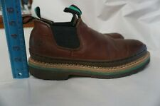 John Deere JD1193 Brown Leather No Slip Work Slip on Loafers Men's US 9.5M Shoe