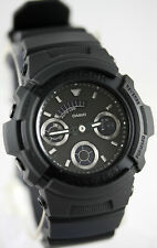 Casio AW-591BB-1A G-Shock Men's Matte Black Watch Analog Digital World Time