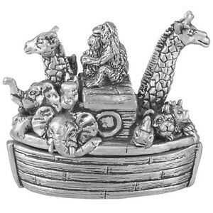 Christening Gift Pewter Noah's Ark First Tooth Box