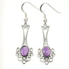 Long Celtic Knot Silver Earrings, set w Amethyst stone, Solid Sterling Silver
