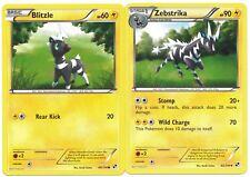 Pokemon Cards: Zebstrika 42/114 & Blitzle 40/114 Black and White Set! NM