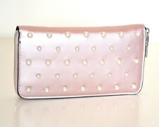 Portefeuille ROSE perles femme faux cuir portemonnaie clutch bag zip purse G18