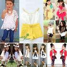 enfants bébé fille t-shirt pantalon robe été Costume Vêtements Ensemble 1